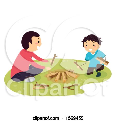 Clipart of a Father Teaching His Son How to Build a Camp Fire - Royalty Free Vector Illustration by BNP Design Studio