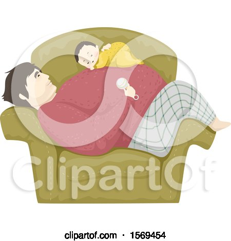 Clipart of a Baby Boy Sleeping on His Dads Tummy in a Chair - Royalty Free Vector Illustration by BNP Design Studio