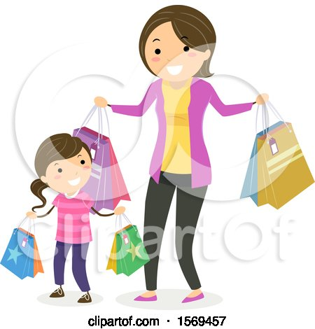 Clipart of a Mother and Daughter Shopping - Royalty Free Vector Illustration by BNP Design Studio