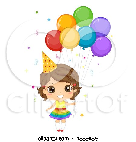 Clipart of a Girl Wearing a Party Hat and Holding Balloons - Royalty Free Vector Illustration by BNP Design Studio
