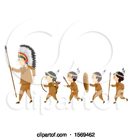 Clipart of a Group of Native American Boys Carrying Hunting Equipment and Following a Man - Royalty Free Vector Illustration by BNP Design Studio