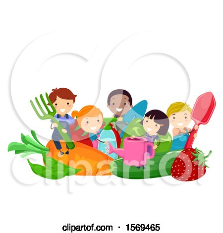 Clipart of a Group of Children with Giant Produce and Garden Tools - Royalty Free Vector Illustration by BNP Design Studio