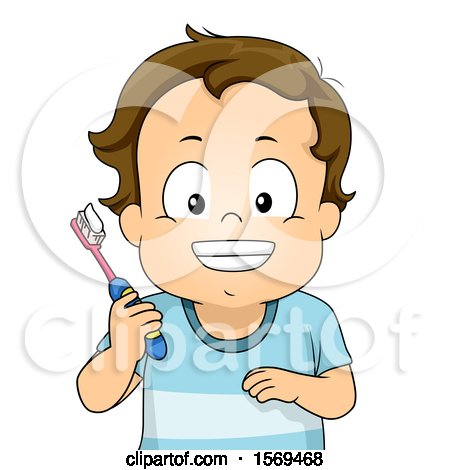Clipart of a Toddler Boy Smiling and Holding a Toothbrush - Royalty Free Vector Illustration by BNP Design Studio