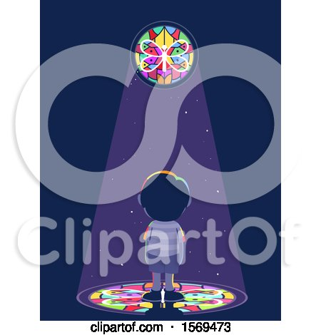 Clipart of a Boy Looking up at a Stained Glass Window - Royalty Free Vector Illustration by BNP Design Studio