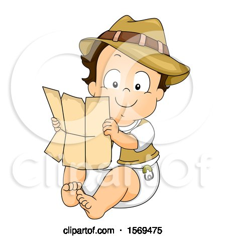 Clipart of a Baby Boy Explorer Holding a Map - Royalty Free Vector Illustration by BNP Design Studio