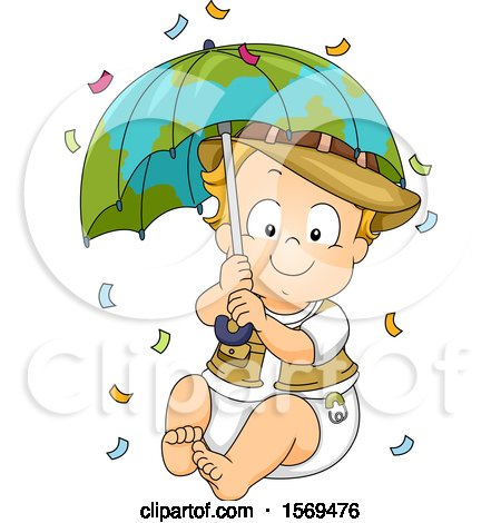 Clipart of a Baby Boy Explorer Holding a Globe Umbrella, with Falling Confetti - Royalty Free Vector Illustration by BNP Design Studio