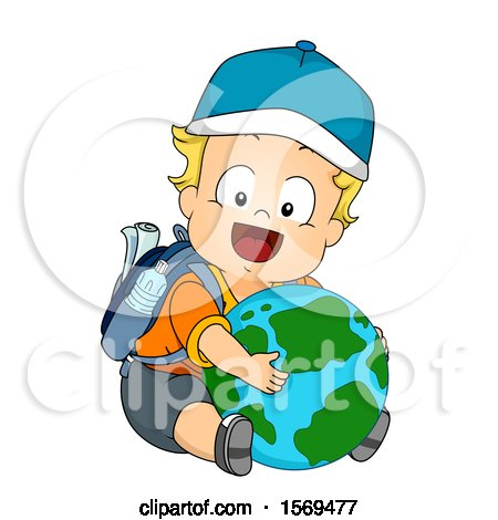 Clipart of a Baby Boy Hugging a Globe and Wearing a Backpack - Royalty Free Vector Illustration by BNP Design Studio