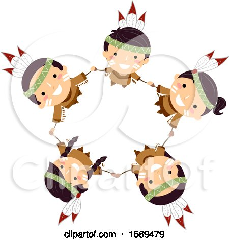 Clipart of a Group of Native American Children Holding Hands and Looking up in a Circle - Royalty Free Vector Illustration by BNP Design Studio
