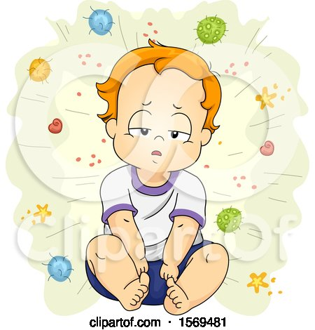 Clipart of a Sick Toddler Boy Surrounded by Germs and Viruses - Royalty Free Vector Illustration by BNP Design Studio