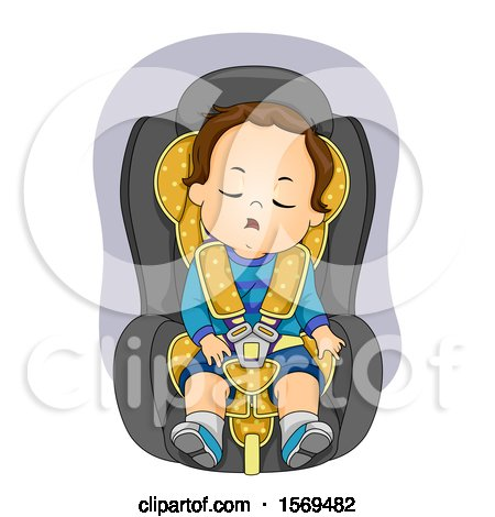 Clipart of a Toddler Boy Sleeping in a Car Seat - Royalty Free Vector Illustration by BNP Design Studio