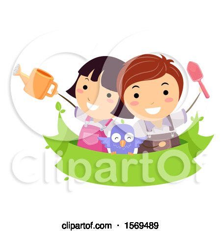 Clipart of Children and an Owl over a Banner, with a Watering Can and Gardening Shovel - Royalty Free Vector Illustration by BNP Design Studio