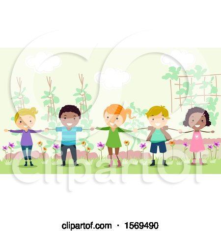 Clipart of a Group of Children Forming a Human Fence in the Garden - Royalty Free Vector Illustration by BNP Design Studio