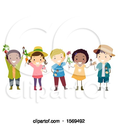 Clipart of a Group of Children with Gardening Tools and Harvested Produce - Royalty Free Vector Illustration by BNP Design Studio