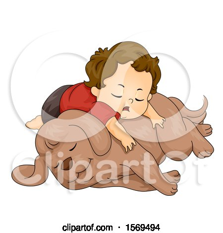 Clipart of a Toddler Boy Sleeping on His Dog - Royalty Free Vector Illustration by BNP Design Studio