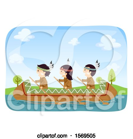 Clipart of a Group of Native American Children Rowing a Canoe - Royalty Free Vector Illustration by BNP Design Studio