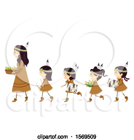 Clipart of a Group of Native American Girls Following a Woman, with Bark, Bow Drill and Corn - Royalty Free Vector Illustration by BNP Design Studio