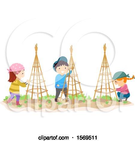 Clipart of a Group of Children Setting up Garden Trellises - Royalty Free Vector Illustration by BNP Design Studio