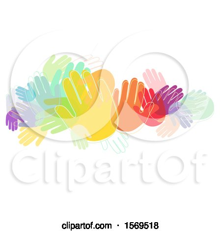 Clipart of a Crowd of Colorful Hands - Royalty Free Vector Illustration by BNP Design Studio