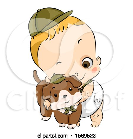 Clipart of a Baby Boy in a Scouts Hat, Hugging a Dog - Royalty Free Vector Illustration by BNP Design Studio