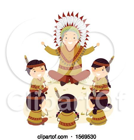 Clipart of a Group of Native American Children Sitting Around an Elder As He Tells a Story - Royalty Free Vector Illustration by BNP Design Studio