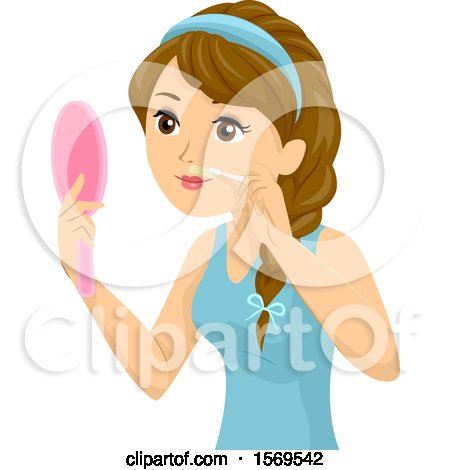 Clipart of a Teen Girl Holding a Mirror and Waxing Her Upper Lip - Royalty Free Vector Illustration by BNP Design Studio