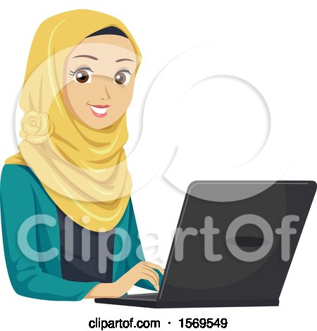 Clipart of a Teen Muslim Girl Using a Laptop - Royalty Free Vector Illustration by BNP Design Studio