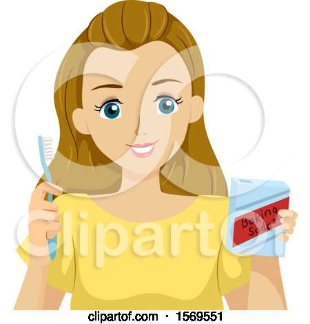 Clipart of a Teen Girl Brushing Her Teeth with Baking Soda - Royalty Free Vector Illustration by BNP Design Studio