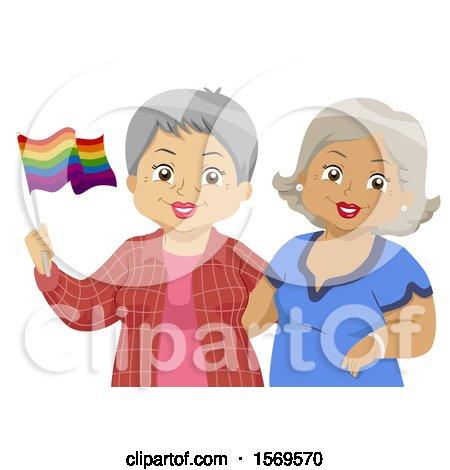 Clipart of a Happy Senior Lesbian Couple Holding a Rainbow LGBTQ Flag - Royalty Free Vector Illustration by BNP Design Studio