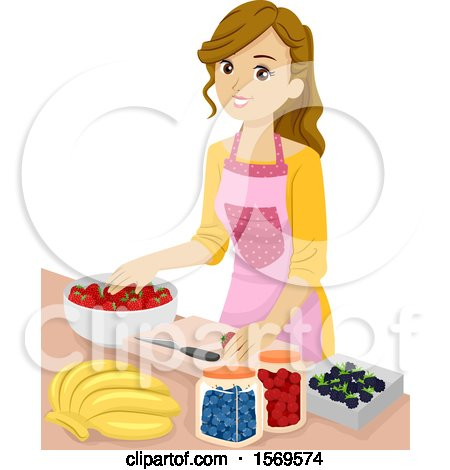 Clipart of a Teen Girl Preserving Fruit - Royalty Free Vector Illustration by BNP Design Studio