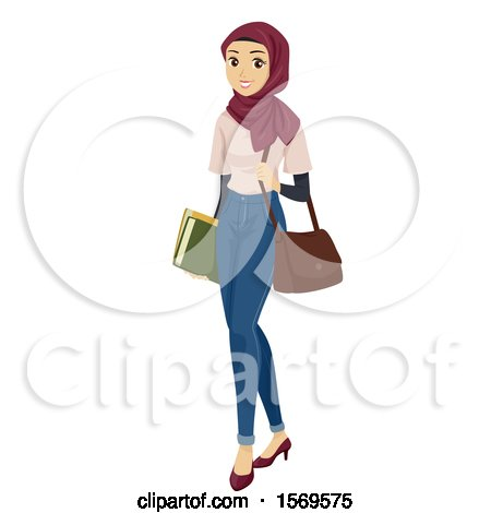 Clipart of a Teen Muslim Girl Carrying School Books and a Bag - Royalty Free Vector Illustration by BNP Design Studio