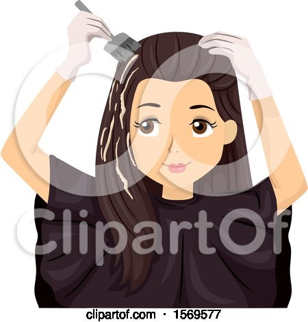 Clipart of a Teen Girl Dying Her Hair - Royalty Free Vector Illustration by BNP Design Studio