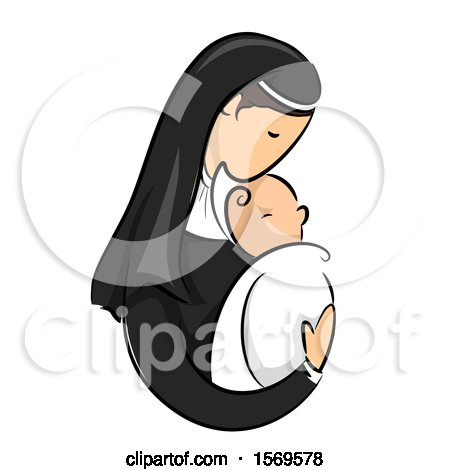 Clipart of a Sketched Nun Holding a Baby - Royalty Free Vector Illustration by BNP Design Studio