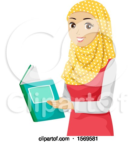 Clipart of a Teen Muslim Girl Reading a Book - Royalty Free Vector Illustration by BNP Design Studio