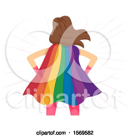 Clipart of a Rear View of a Super Woman Wearing a Rainbow Cape - Royalty Free Vector Illustration by BNP Design Studio