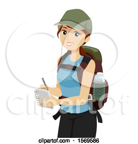 Clipart of a Teen Girl Student Hiking and Taking Notes - Royalty Free Vector Illustration by BNP Design Studio