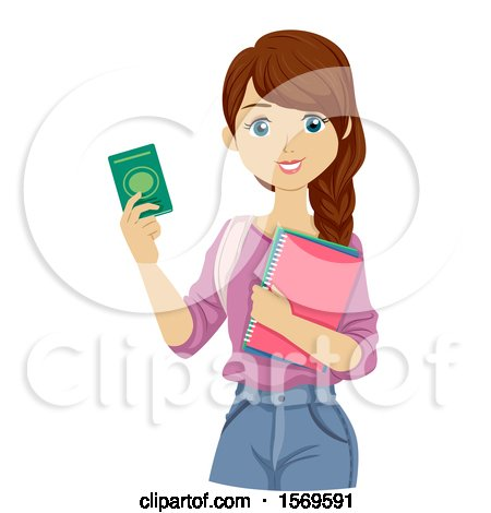 Clipart of a Teen Girl Foreign Student Holding a Pasport - Royalty Free Vector Illustration by BNP Design Studio