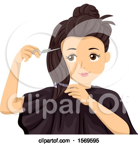 Clipart of a Teen Girl Cutting Her Own Hair - Royalty Free Vector Illustration by BNP Design Studio