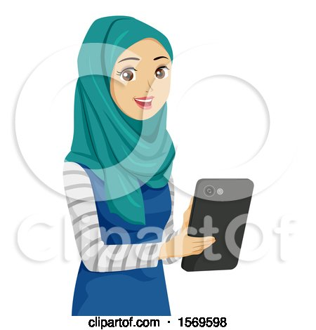 Clipart of a Teen Muslim Girl Using a Tablet - Royalty Free Vector Illustration by BNP Design Studio