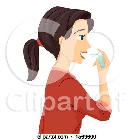 Clipart of a Teen Girl Using Fresh Breath Spray - Royalty Free Vector Illustration by BNP Design Studio