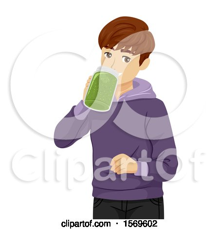 Clipart of a Teen Guy Drinking a Green Smoothie - Royalty Free Vector Illustration by BNP Design Studio