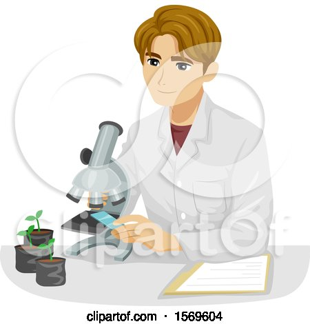 Clipart of a Teen Guy Botanist Looking at a Plant Specimen Under a Microscope - Royalty Free Vector Illustration by BNP Design Studio