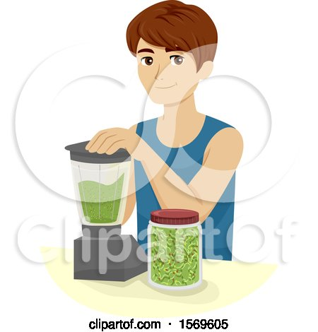 Clipart of a Teen Guy Making Broccoli Sprouts Smoothies - Royalty Free Vector Illustration by BNP Design Studio