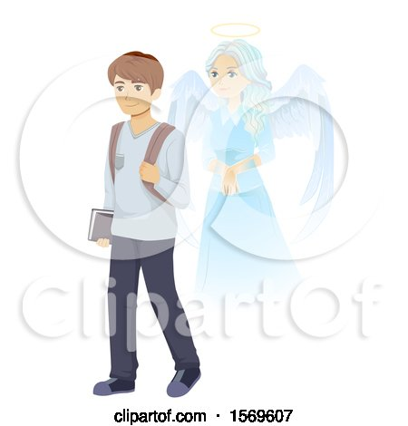 Clipart of a Teen Guy Student and Guardian Angel - Royalty Free Vector Illustration by BNP Design Studio