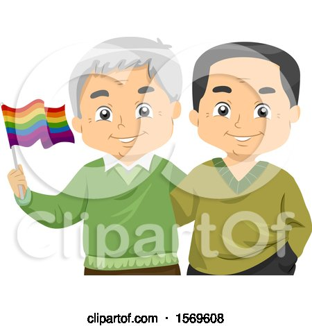 Clipart of a Happy Senior Gay Couple Holding a Rainbow LGBTQ Flag - Royalty Free Vector Illustration by BNP Design Studio