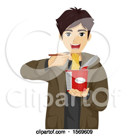 Clipart of a Teen Guy Eating a Cup of Instant Noodles with Chopsticks - Royalty Free Vector Illustration by BNP Design Studio