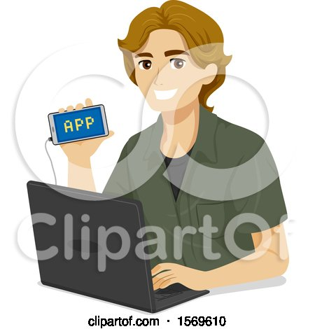 Clipart of a Teen Guy Showing His Mobile App He Programmed on His Laptop - Royalty Free Vector Illustration by BNP Design Studio