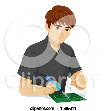 Clipart of a Teen Guy Using an Electronics Solder on Computer Chips - Royalty Free Vector Illustration by BNP Design Studio