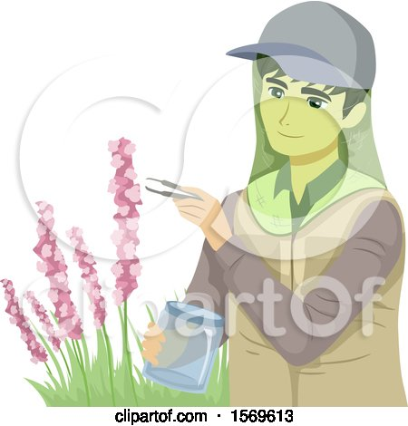 Clipart of a Teen Guy Botanist Collecting Samples from a Plant - Royalty Free Vector Illustration by BNP Design Studio