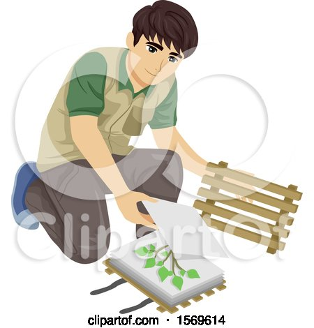 Clipart of a Teen Guy Botanist Pressing Collected Plant Samples for a Herbarium - Royalty Free Vector Illustration by BNP Design Studio