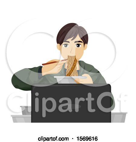 Clipart of a Teen Guy Eating Noodles in Front of a Computer - Royalty Free Vector Illustration by BNP Design Studio